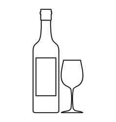 Bottle of wine icon outline style vector