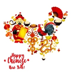 Map of China made up of Chinese New Year symbols vector image
