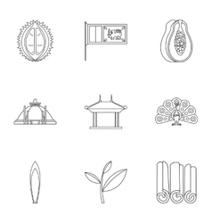 Attractions of Sri Lanka icons set outline style vector image
