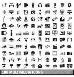 100 multimedia icons set in simple style vector