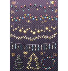 garland ropes set and figures of christmas tree vector image