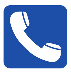 Blue white info sign - old telephone handset icon vector