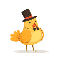 Funny cartoon chick bird in a black top hat and vector