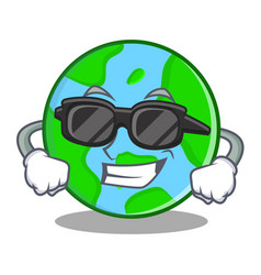 super cool world globe character cartoon vector image