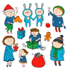 Childish christmas set in cartoon style vector