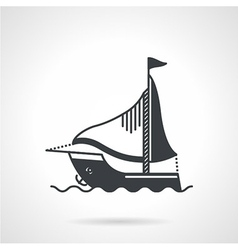 Sailing yacht black icon vector