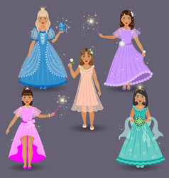 Fairy set on grey vector