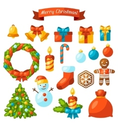 Set of merry christmas holiday celebration object vector