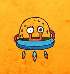 Alien in Spaceship Cartoon vector image