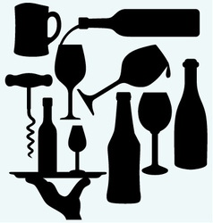 Set of alcoholic beverages vector