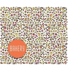 Hand drawn bakery seamless pattern background vector