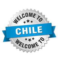 Chile 3d silver badge with blue ribbon vector