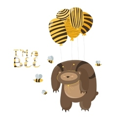 Funny bear flying on a balloon vector