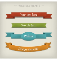 Colored ribbon elements for web vector