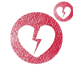 Broken heart simple single color icon isolated on vector image