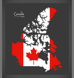 Canada map with canadian national flag vector