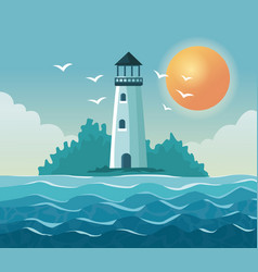 colorful poster seaside with lighthouse in coast vector image vector image