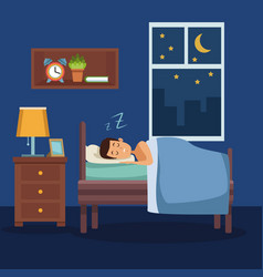 Colorful scene man sleep with blanket in bedroom vector