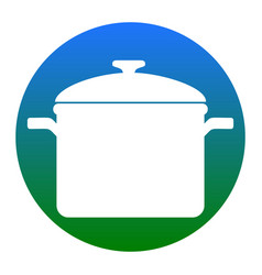 Cooking pan sign white icon in bluish vector