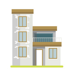 Cute cottage brick house vector