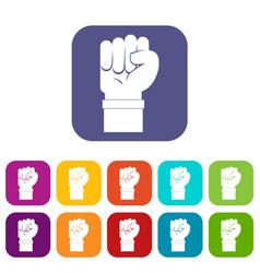 Fist icons set flat vector