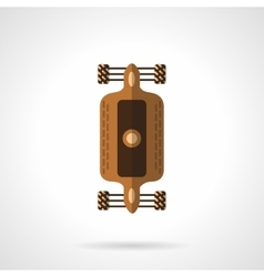 Flat color design longboard icon vector