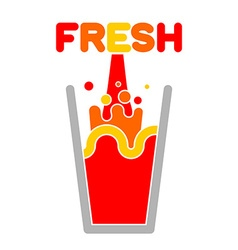 Fresh juice glass Squirting juice vector image