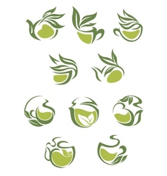 Green tea dish and cup icons set vector image vector image