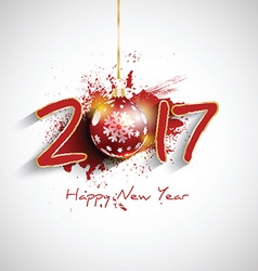 Grunge happy new year bauble background 1510 vector