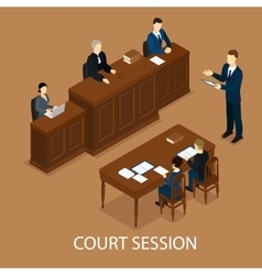 Isometric Judicial Session Concept vector image