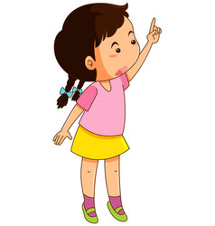 little girl in pink shirt pointing up vector image vector image
