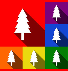 New year tree sign set of icons with flat vector