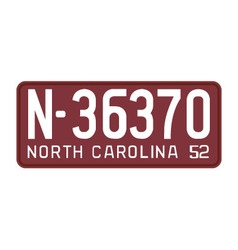 North carolina 1952 license plate vector