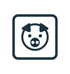 Pig icon rounded squares button vector