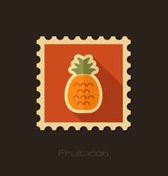 Pineapple flat stamp tropical fruit vector