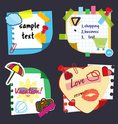 Realistic sticky notes sheets with stickers vector