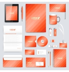 Red set of corporate identity template vector