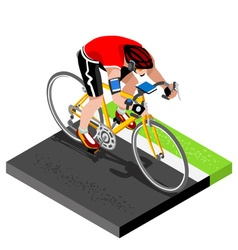 Road cycling cyclist working out 3d isometric vector