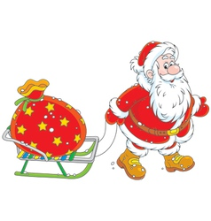 Santa with a gift bag vector image
