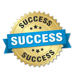 Success round isolated gold badge vector