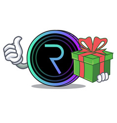 With gift request network coin mascot cartoon vector