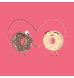 Two donuts make heart shape funny cartoon vector