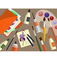 Collection of drawing tools and folder with papers vector