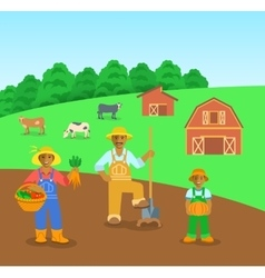 Farming black family in farm field flat background vector image