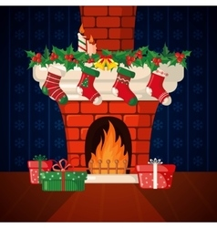 Christmas card with fireplace and socks vector