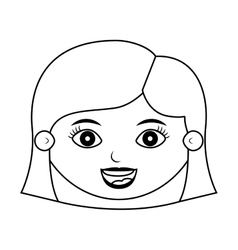 Front face girl smiling silhouette with hairstyle vector