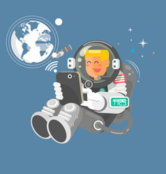 Astronaut in outer space using a laptop vector
