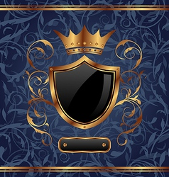 Golden vintage heraldic elements crown shield vector