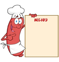 Sausage Chef Cartoon Mascot Character Showing Menu vector image