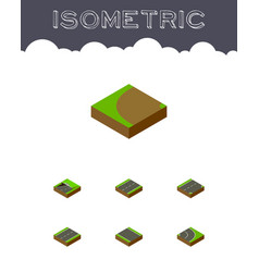 Isometric road set of driveway asphalt without vector